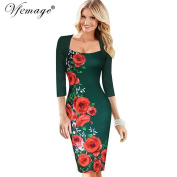 Vfemage Womens Elegant Sexy Floral Flower Square Neck Casual Party Evening Mother of Bride Pencil Sheath Bodycon Dress 4227