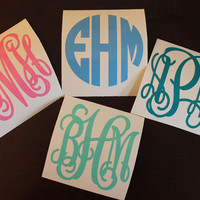 "First Class Shipping-- SINGLE 2"" Vinyl Personalized Monogram Decal Stickers"