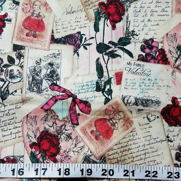 Valentine's Day fabric with flowers rose floral heart card  cotton print quilt sewing project quilter material bty by the yard