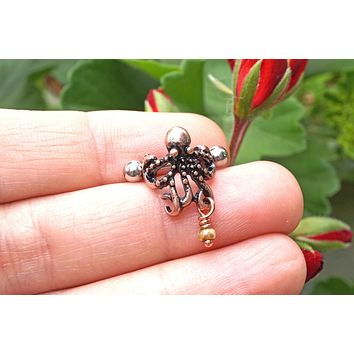 Octopus Rose Gold Ear Cuff Cartilage Earring Piercing