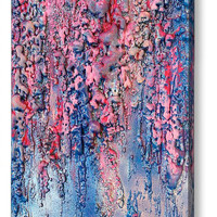 Sculpture Wall Decor, Abstract Painting, Mixed Media Art, Blue Painting, Pink, Purple, Silver, Canvas, Modern Wall Art, Unique Rich Texture