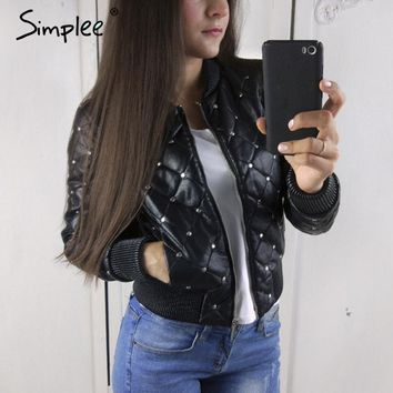 Simplee Punk zipper PU faux leather coat jacket women Black basic  jacket women outwear Pocket rivet 2017 winter moto jacket