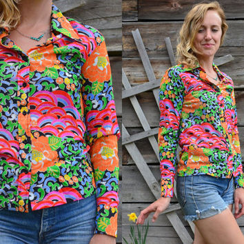 SALE Vintage 70's Psychedelic Neon Button Down Blouse