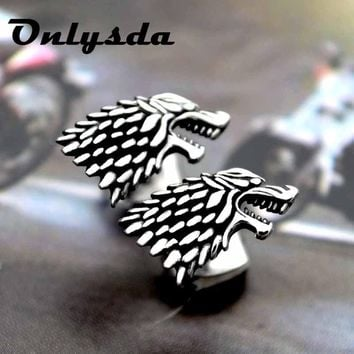 Drop shipping Punk stainless steel Wolf Animal Stud Earring Charm Viking amulet Jewelry For man Lover earring Gift ES012