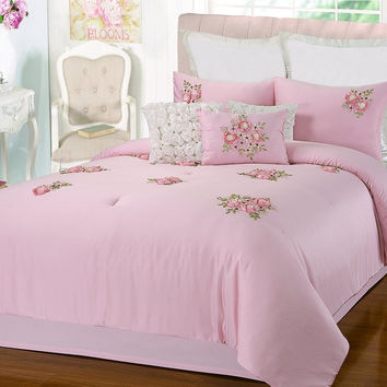 Rosetta Floral Bouquet Applique Pink 9 Piece Embroidery Comforter Bed In A Bag Set