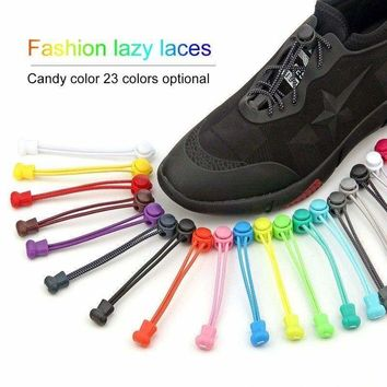 Easy No Tie Shoelaces Elastic Silicone Sport Flat Shoe Lace Set for Kid Adult US