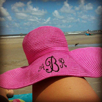 MONOGRAMMED  Beach Hat - Floppy Hat - Bridesmaid Gifts - Travel - Summer