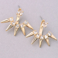 Gold Spike Ear Jacket Earrings - Gold