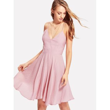 Pink Deep V Neck Crisscross Skater Cami Dress