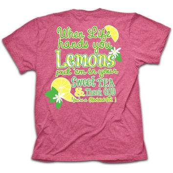 Cherished Girl Funny Lemons Sweet Tea Thank God Christian Bright T Shirt