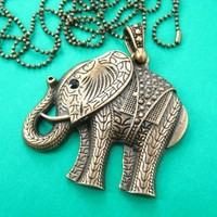 Large Detailed Elephant Pendant Necklace in Bronze   Animal Jewelry