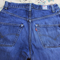 29x30 Levis 595 Distressed Levis Dry Goods Faded and Worn Denim Jeans Frayed Cuffs