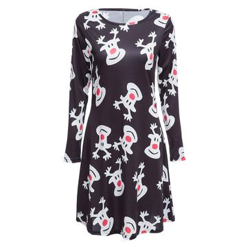 Jewl Neck Long Sleeve Deer Print A-Line Christmas Swing Dress for Ladies