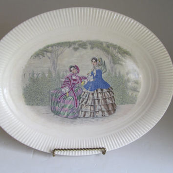 Godey Prints Platter Women Platter Antique Platter Salem China USA Antique Farmhouse Table decor  Edwardian Platter Edwardian Ladies Dress