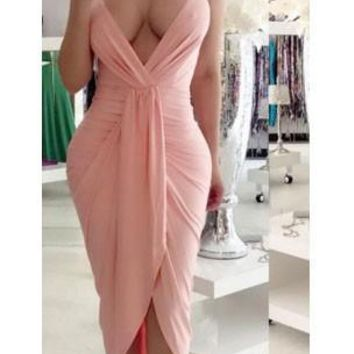 Pink Irregular Ruched Backless Spaghetti Strap Deep V-neck Party Maxi Dress
