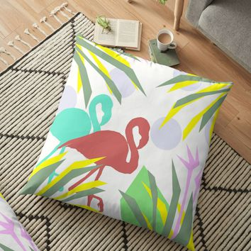 'Flamingo jungle' Floor Pillow by by-jwp