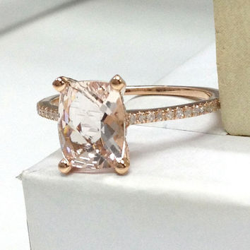 Morganite Engagement Ring 14K Rose Gold!Diamond Wedding Bridal Ring,Claw Prongs,6x8mm Cushion Cut Morganite,Custom made matching band
