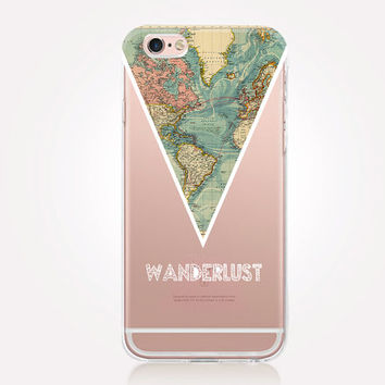 Transparent Wanderlust Phone Case - Transparent Case - Clear Case - Transparent iPhone 7 - Samsung S7 - Soft TPU - Gel Case - iPhone SE