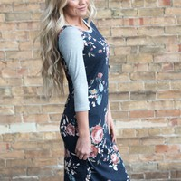 Floral Midi Raglan Dress | Fall Floral Dress