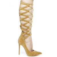 NO FEELINGS LACE UP PUMPS - TAN