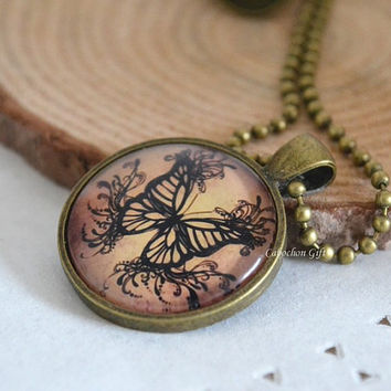Butterfly necklace,creature Butterfly necklace,monarch butterfly Cabochon pendant necklace (N22)