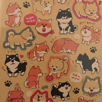Dog stickers, Akita sticker,dog lover, lovely dog sticker,craft supply,scrapbook supply,diary sticker,colorful sticker