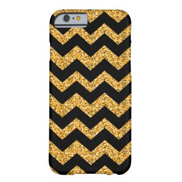 Girly Vintage Gold Glitter Chevron Zig Zag Pattern Barely There iPhone 6 Case