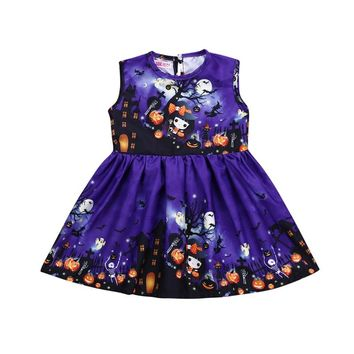 Fashion Halloween Princess Dress Children Dresses For Girls Purple Ghost Pattern Mini Party Dress Baby Girls Sleeveless Dresses