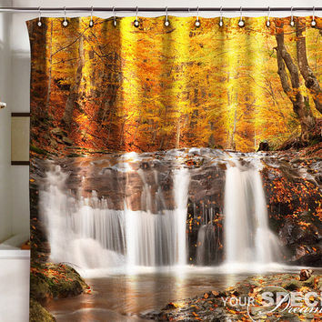 Bath Shower Curtain gold autumn waterfall cataract fall