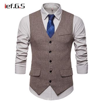Men's Smart Casual Vest - Herringbone Pattern Waistcoat - Tweed Slim Fit Vest