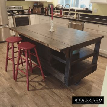 Distressed Dark Wood – Modern Rustic Kitchen Island Cart – with Walnut Stained Top