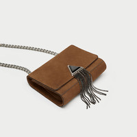 LEATHER CROSSBODY BAG WITH METALLIC DETAILDETAILS