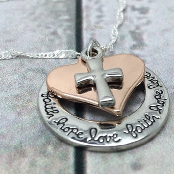 Hand stamped Silver Faith Hope Love Inspiration pendant Stamped Necklace Handstamped Jewelry Stamped Jewelry Hand Stamped Silver Jewelry
