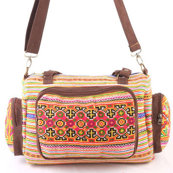 Hmong Diaper Bag, Cross Body Ethnic Embroidered Duffle Bag Elegant Needlework Vintage Traditional Boho Style