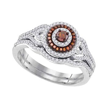 10kt White Gold Womens Round Red Color Enhanced Diamond Bridal Wedding Engagement Ring Band Set 1/2 Cttw