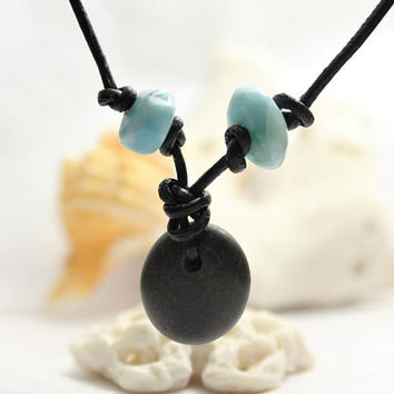 Unisex Larimar Blue Beads and Black Beach Stone Pendant Necklace leather surfer choker natural rock river bohemian bead men women