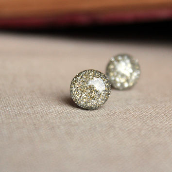 White Gold Glitter Stud Earrings - Hypoallergenic Surgical Stainless Steel Post Earrings - Silver