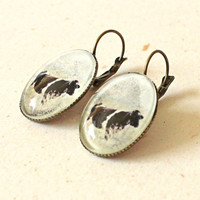 Grazing cow earrings, oval dangle earrings, black and white holstein cow, farm themed jewelry