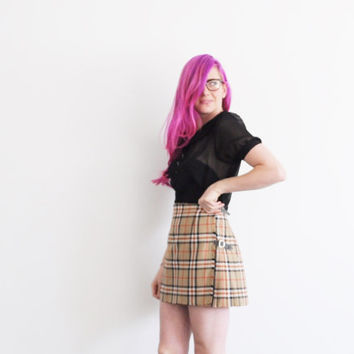 Scottish plaid pleated mini skirt . preppy catholic school girl kilt .medium.large