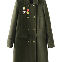 Army Green Patches Detail Double Breasted Wool Blend Coat