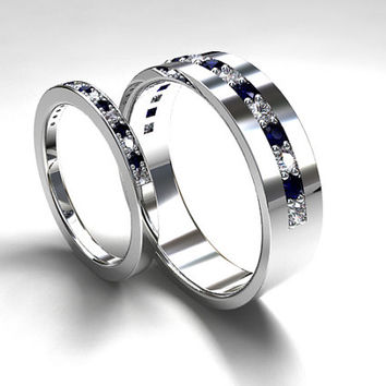Blue sapphire and diamond wedding band set made from palladium, men sapphire wedding, matching rings, half eternity, diamond band, blue
