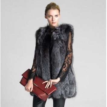 fashionable newest waistcoat of rabbit hair for women knitted mink fur vest