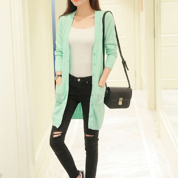 Deep V-Neck Long Knit Cardigan Jacket