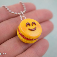 Emoji Smiley Face Macaron Charm Necklace | Polymer Clay | Handmade Gift | Miniature Food Sweet