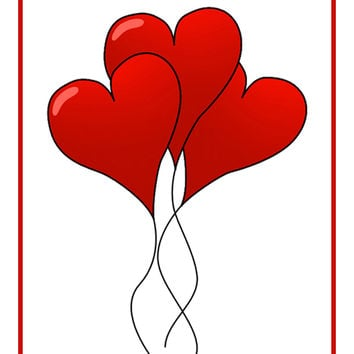 Contemporary Valentine Heart Balloons Bow Sew So Simple ™ Counted Cross Stitch or Counted Needlepoint Pattern