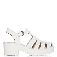 White Caged Chunky Block Heel Sandals