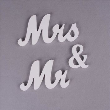 """Mr & Mrs 4"""" Wooden Letters for Wedding Table Top Decor"""