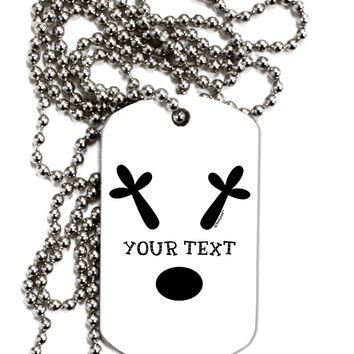 Personalized Matching Reindeer Family Design - Your Text Adult Dog Tag Chain Necklace