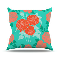 "Anneline Sophia ""Summer Rose Orange"" Teal Green Outdoor Throw Pillow"