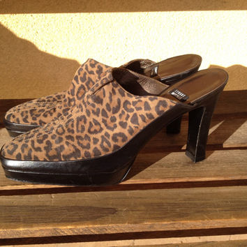 Leopard Platform Heels Shoes, Stuart Weitzman Leopard Slides Mules Platform Heels, 9.5 Ladies Platform Shoes, Animal Print Heels Shoes